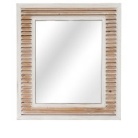 "48"" x 38"" White Washed Shutter Mirror"