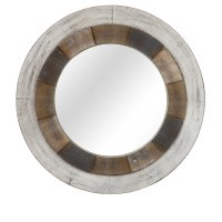 "31"" Round White Washed Brown Mirror"