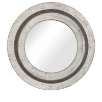"31"" Round Antique White and Gray Finish Mirror"