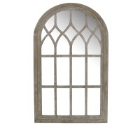 "40"" x 24"" White Washed Arch Mirror"