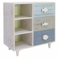 "32"" White Washed Blue and Gray 3 Fish Drawer Cabinet"