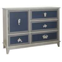 "52"" Dark Blue and Gray 4 Drawer and 1 Door Sealife Cabinet"