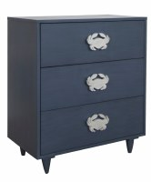 "28"" Dark Blue 3 Drawer Crab Cabinet"