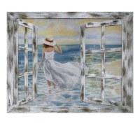 """24"""" x 30"""" Beach Lady In Window Frame Framed Canvas"""