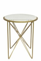 "24"" Round White Marble With Gold Legs Table"