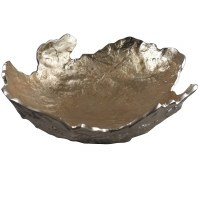 "17"" Round Dark Gray and Light Gold Bowl With Jagged Edges"