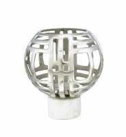 "13"" Silver Openwork Orb Marble Base Votive Candle Holder"