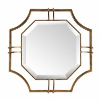 "17"" Antique Finish Brass Hex Mirror"