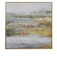"60"" Square Multipastel Horizon Gold Framed Canvas"