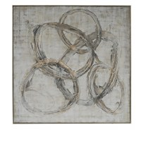 """60"""" Square Gray and Gold Circle Design Framed Canvas"""