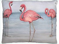 "18"" Square 3 Flamingos In Water Pillow"