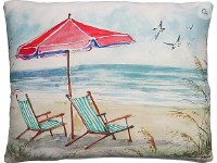 "19"" x 24"" Beach Scene With Chairs and Umbrella Pillow"