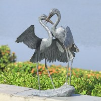 """30"""" Verdigris Crane Pair With Wings Out Statue"""