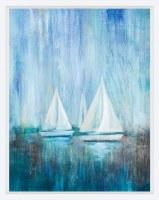 "37"" x 29"" 3 Sailboats Simplicity Framed Print"