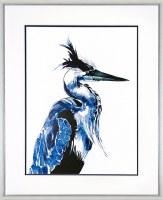 "43"" x 35"" Blue Coastal Bird Facing Right Print"