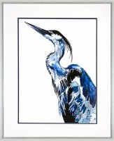 "43"" x 35"" Blue Coastal Bird Facing Left Framed Print"