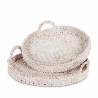 "16"" Round White Washed Water Hyacinth Tray"