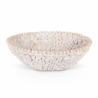 "14"" Round White Washed Beaded Rim Water Hyacinth Fruit Bowl"