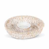"13"" Round White Washed Beaded Rim Water Hyacinth Chip and Dip Bowl"