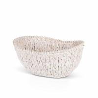 "15"" Oval White Washed Beaded Rim Water Hyacinth Basket"