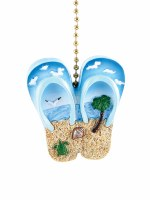 "2.5"" Flip Flops With Beach Scene Fan Pull"