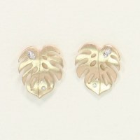 Gold Leaves With Crystals Earrings