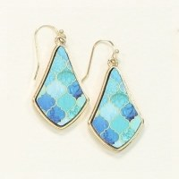 Gold, Blue and Seafoam Earrings
