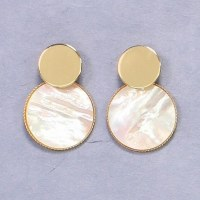 Gold With Mother Of Pearl Disks Earrings