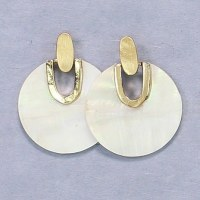 White Disks With Gold Earrings