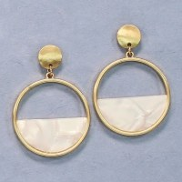 White and Gold Circle Earrings