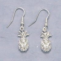 Silver Pineapple With Crystals Dangle Earrings