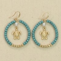 Gold and Turquoise Turtle Earrings