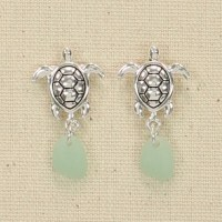 Turtles With Seaglass Dangle Earrings