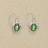 Green and Silver Turtle Earrings