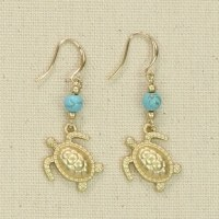 Gold Turtles With Turquoise Earrings