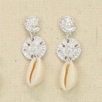 Silver Sand Dollar Cowrie Earrings