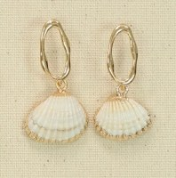 Gold Ovals With Shells Earrings