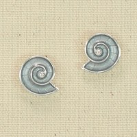 Silver and Gray Nautilus Earrings