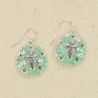 Silver and Green Sand Dollar Earrings