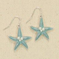 Blue Starfish With Pearls Earrings