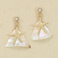Starfish With Mother Of Pearl Pieces Earrings
