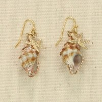 Gold Starfish With Shells Earrings