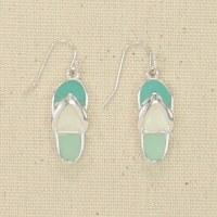Silver and Green Flip Flop Earrings