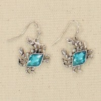 Silver Crabs With Blue Bling Earrings