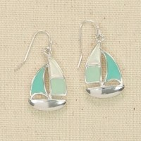 Green Sailboat Earrings