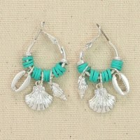 Silver and Turquoise Shell Hoop Earrings