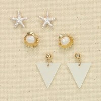 Set of 3 Silver and Mother Of Pearl Shells Earrings