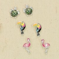 Set of 3 Birds and Turtle Earrings
