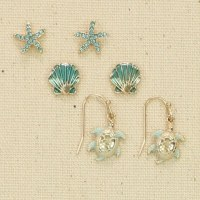 Set of 3 Gold and Blue Sealife Earrings