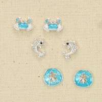 Set of 3 Silver and Blue Sealife Earrings